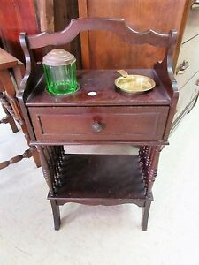 Antique Smoke Stand Depression Glass Tabacco Jar & Ash Tray