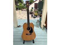 HUDSON acoustic guitar with electric pick-up - like new