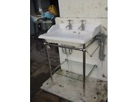 """VICTORIAN STYLE""""HERITAGE"""" SINK ON NEW CHROME STAND"""