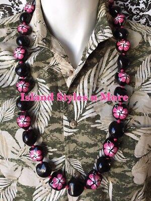 Hawaii Wedding Solid BLACK PINK Hibiscus Kukui Nut Lei Graduation Necklace NWT