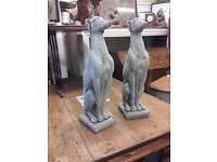 """Pair of stone whipets 22"""" high x 6"""" wide"""