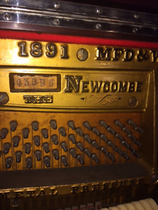 Circa 1891 Newcombe (Toronto Mfg) Upright Piano