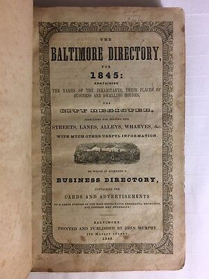 Very Rare 1845 Baltimore Maryland Directory  Colored Negro Households  Local Ads