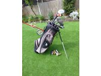 Set of Golf Clubs in bag, with Golf Trolley