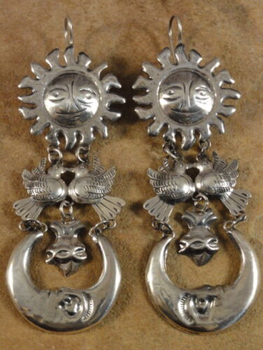 BIG Beautiful Mexican Mexico Sterling Silver Frida Earrings