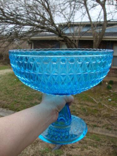 Antique Vtg Large Aqua Blue Diamond Point Glass Compote Pedestal Bowl