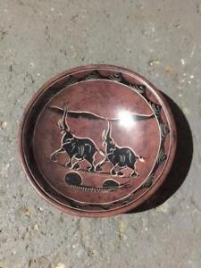 African Art - Ebony wood carving tree of life and soapstone bowl