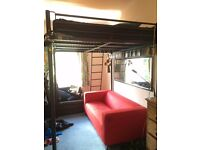 Metal Frame large double platform bed with a ladder. Mattress included. Buyer Collects. £40/60