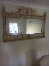 Original French Shabby Chic Hand Carved Mirror