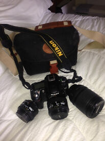 Nikon D80 dslr with 3 lenses and all accessories.