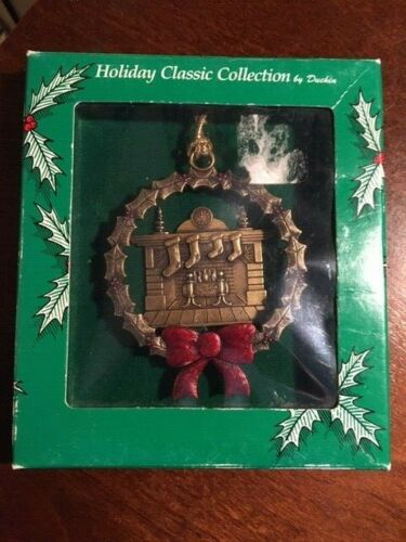 GLORIA DUCHIN CHRISTMAS ORNAMENT STOCKINGS BY FIREPLACE UNUSED IN ORIGINAL BOX