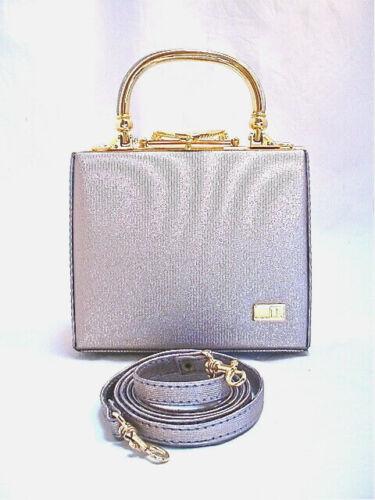 Vintage Evening Bag Silver Fabric Goldtone Hardware Detach Strap by HONG JUN NOL