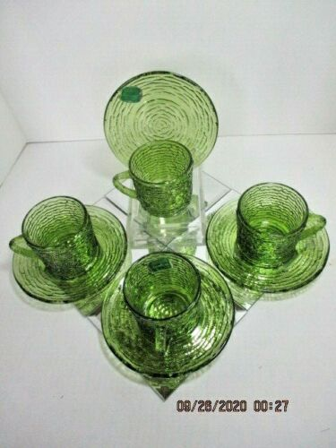 Vtg MCM Anchor Hocking Avocado Depression Glass Soreno 4 Cup & Saucer Sets