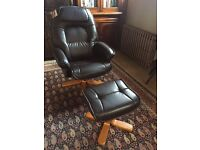 Relaxatease faux leather reclining and swivelling chair and footstool