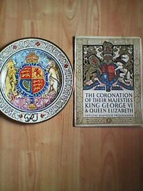 1937 coronation plate and coronation souvenir programme in mint and very good condition.