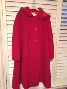 GIRL'S RED WOOL COAT!!!