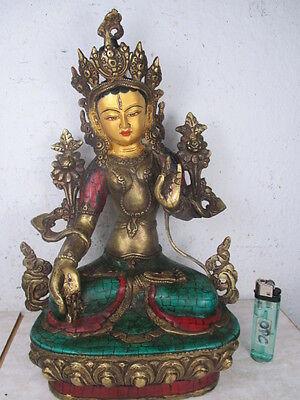 alte WEIßE TARA d. schönste Buddha der Welt Buddha a. Tibet m Türkis & Koralle