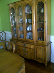 Thomasville Dining Room Vintage Antique Pecan Table Chairs China Cabinet 50 0