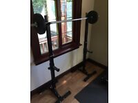 Weight bench set with vinyl weights and bars