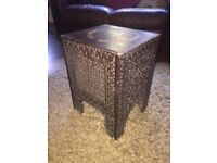 Carved wood side/end occasional/lamp table