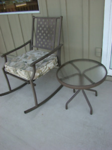 Patio Rocking Chair with Cushion and Side Table