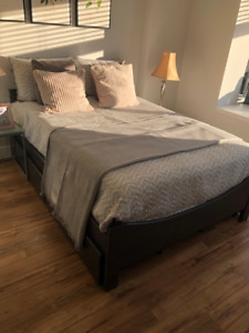 Double storage bed, with (almost) new high end mattress!