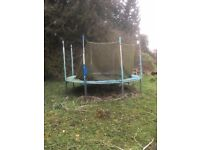 Trampoline - 12ft with net posts, spring cover and steps. VG condition! FREE! please collect!