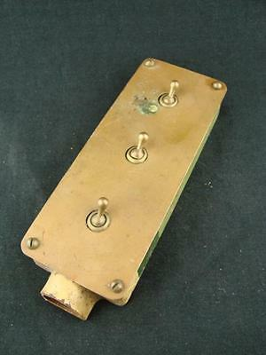 SUPERB VINTAGE BRASS AND CAST STEEL THREE WAY ELECTRIC TOGGLE LIGHT SWITCH