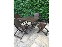 Folding Garden Table and 4 Folding Chairs