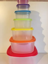 7 Piece Plastic Stacking Storage Set with Lids