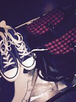 Navy Converse All-Stars Size 7.5 + plaid/leather bag combo.