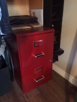 2 drawer red file cabinet