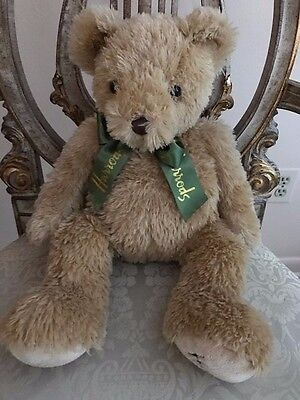 "Harrods Teddy Bear London Knightsbridge 20"" Stuffed Plush Green Bow"