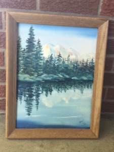Oil painting of reflections on a lake