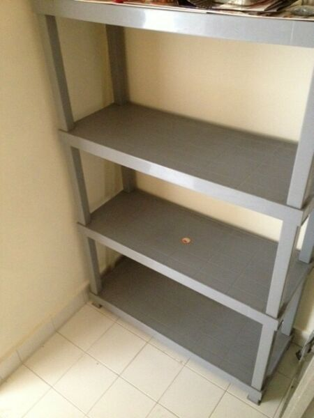 Plastic Shelving System 4-Tier Fixed Shelves Storage Rack Tray StoreRm (River Valley Close)