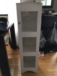 White cabinet with crystal hardware