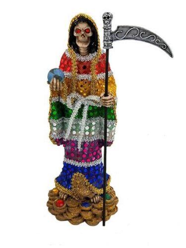 """13"""" Santa Muerte Statue 7 Colors Holy Death Grim Reaper Siete Potencias Figure"""
