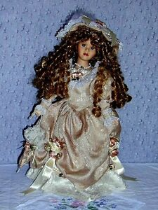Porcelain Doll with 2 Bears in pocket .. Excellent Condition .. Cambridge Kitchener Area image 2