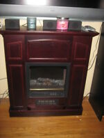 cherry oak electric fireplace in mint condition NEW PRICE