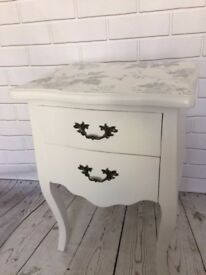 Refurbished White Laura Ashley Painted Bedside, Hall Table with Julien Macdonald Decoupage Top