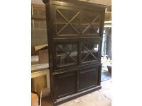 Beautiful Solid Dark Wood Kitchen Dressing Cabinet, Very Good Condition