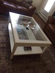 REDUCED! Rectangular white glass top coffee table