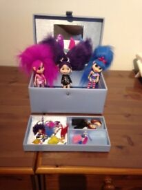 3 Trollz Dolls with accessories including carry case with mirror - immaculate condition