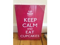 Pink Keep Calm & Eat Cupcakes Canvas - Still in protective plastic