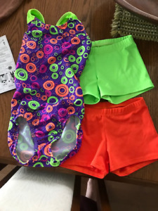 Girl's gymnastics suit and matching shorts Sixe 6x