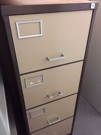 VTG Metal FILING CABINET Beige Brown 4 Drawers NO KEY Foolscap Swing File DH1