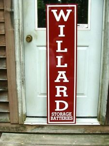 WILLARD BATTERY VINTAGE 30's VERTICAL STYLE 1'X4' METAL DEALER SIGN-GARAGE ART