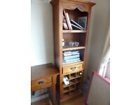 Pine bookcase with wine rack