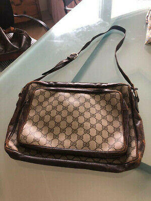 Gucci vintage authentic GG brown canvas cross body bag