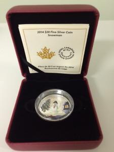 Canada 2014 $20 Fine 1 Oz Silver Coin - Venetian Glass Snowman
